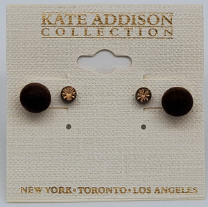 Kate Addison Collection- Rustic Brown and Gold looking Earrings