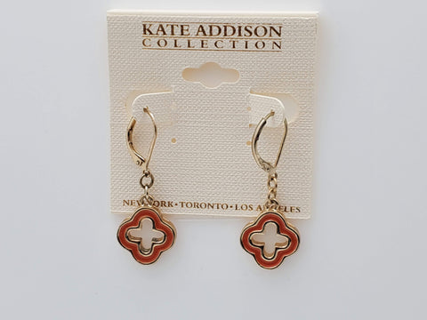Kate Addison Collection Four Star Clasp Orange Color Earrings