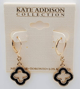 Kate Addison Collection Four Star Clasp Black Color Earrings