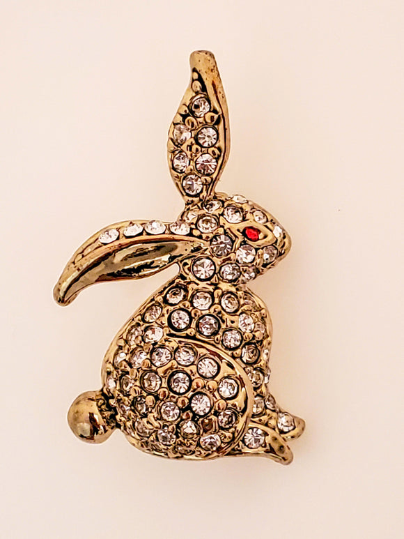 Golden Rabbit Featuring Stones Broach Pin