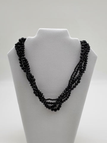 Acrylic Twist Black Color Beads Necklace