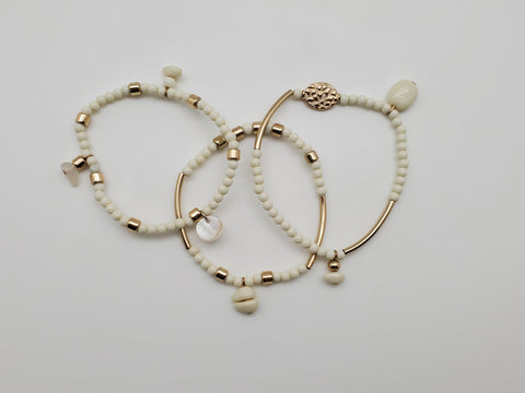 3 Piece Gold And White Color Bracelets