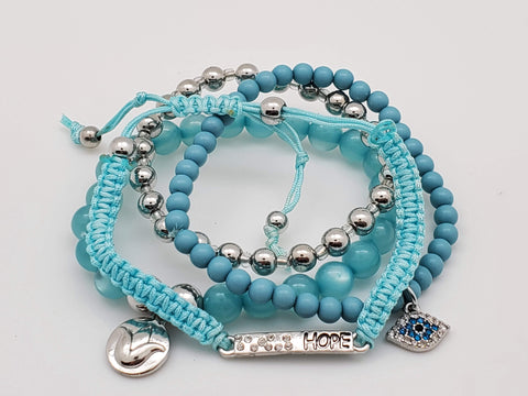 4 Piece Bracelet Ensemble Hope, Evil Eye, Flower & Silver Sphere