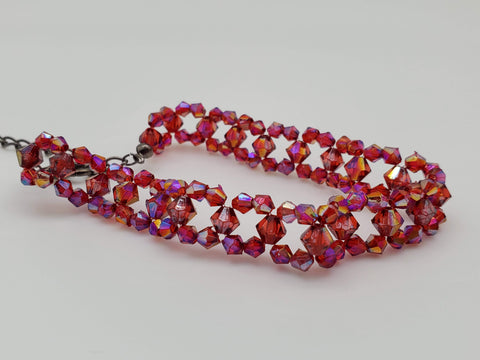 Red Shimmer Sparkle Beaded Choker Necklace