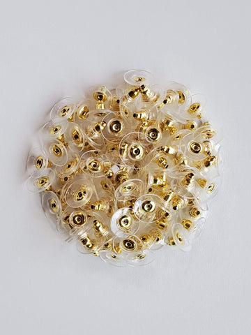 100 Pieces Of Gold Color Flat Earring Backs (50 Pairs)