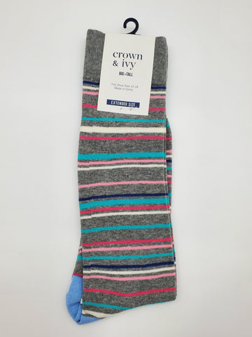 Crown & Ivy Grey Color with Colorful Stripes Design Extended Size 12-16 Socks