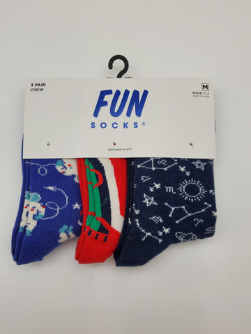 Fun Socks 3 Pair Crew Kids Socks
