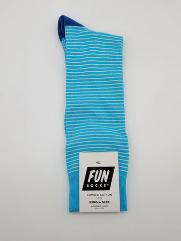 Fun Socks Blue and White Stripes King Size 13-16 Socks