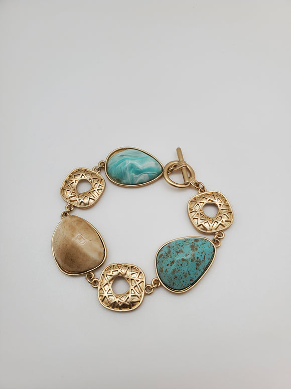 Golden Color Inspired By Metal With Faux Stones Bracelet