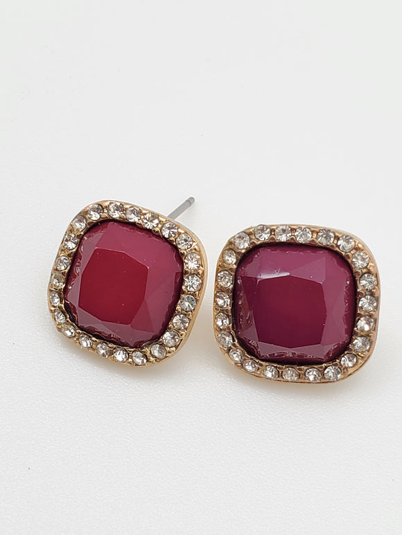 Red Color Stone Diamond Inspired Earrings
