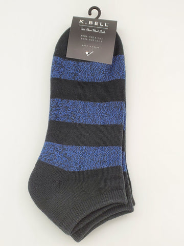 K.Bell 2 Pair Pack Thick Blue And Black Stripes Ankle Socks