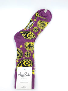 Happy Socks Purple and Yellow Funky Paisley