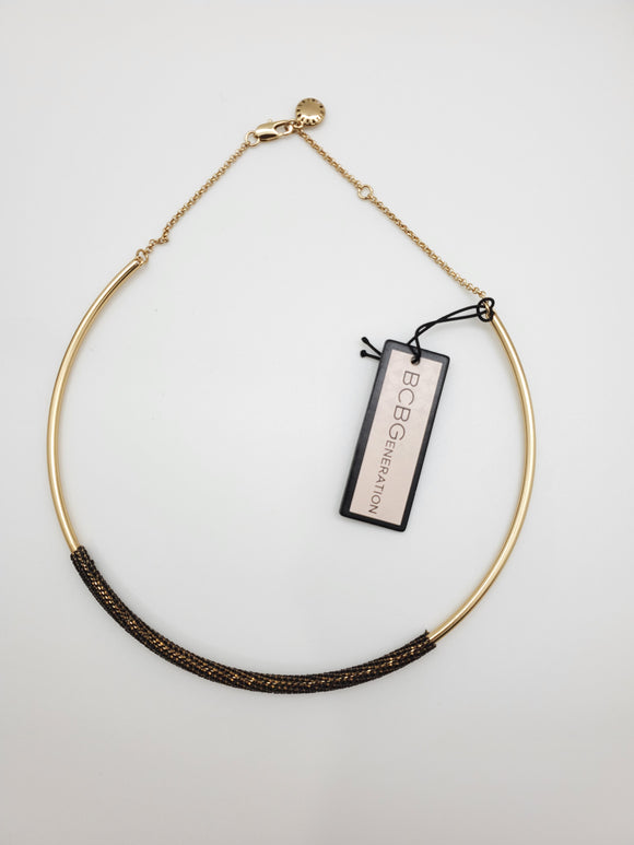 BCBGeneration Golden Black Choker Necklace