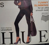 HUE Tummy Slimming Black Leggings With Mesh Panty For Shaping