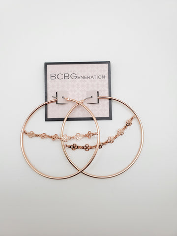 BCBG Rose Gold Hoop Earrings with Center Chain