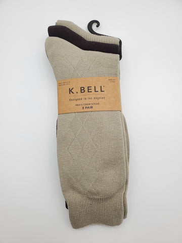 K.Bell 3 Pairs Brown Olive Color Socks