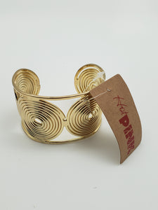 Gold Color Swirly Circles Cuff Bracelet