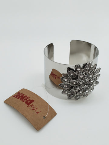 Silver Color Flower with Stones Cuff Bracelet