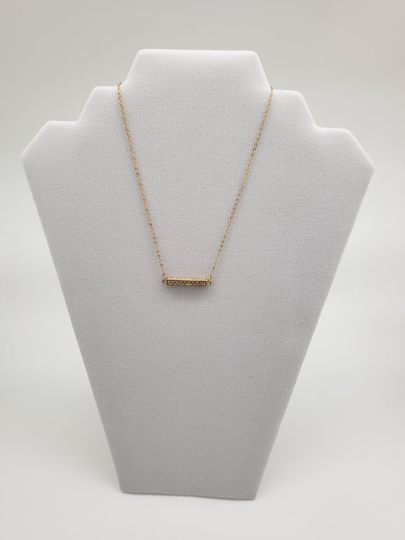 Golden Rectangle Bar with Stones on Gold Chain Necklace