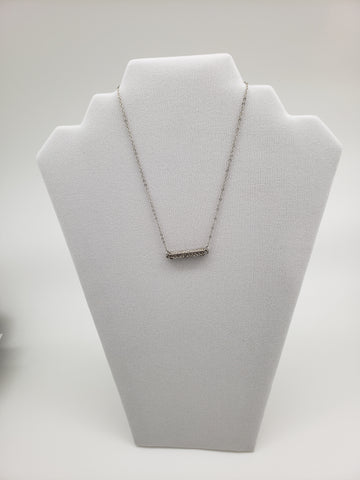 Silver Color Bar with Stones Necklace
