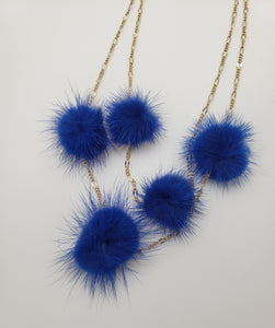 Blue Pom Pom Fur Necklace with Double Gold Color Thin chain
