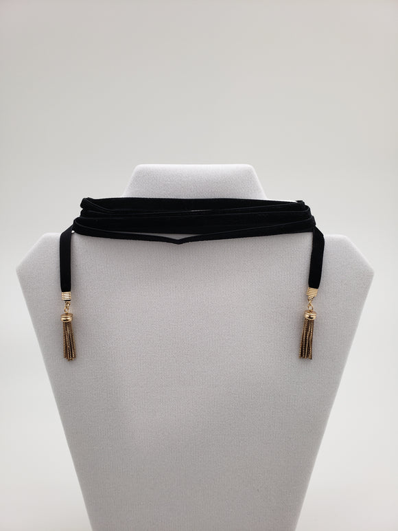 Baublebar Black and Gold Color Tassel Long Choker Necklace