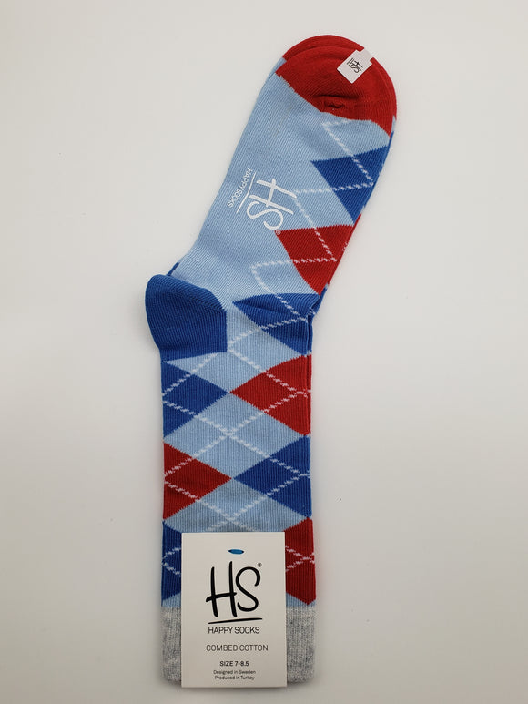Happy Socks Blue/Red/White Combed Cotton Socks