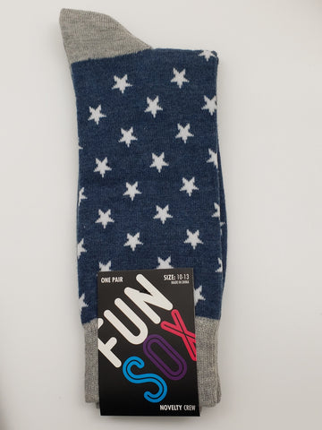 Fun Sox Blue Grey Socks with White Stars