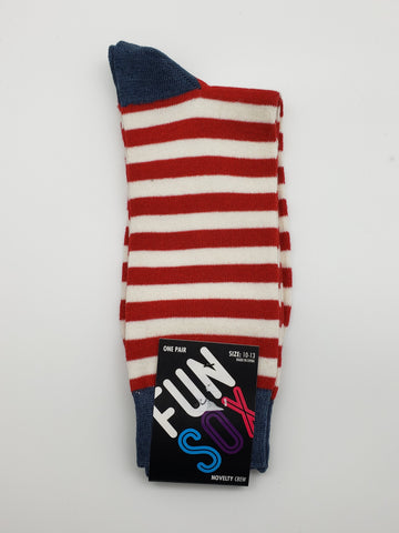 Fun Sox Red and White Stripes