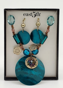 east 5th Turquoise acrylic Necklace & Earring Gift Set