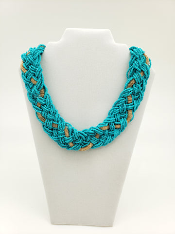 Seed Bead with Woven Gold Ribbon Accent Necklace (2 colors Available)