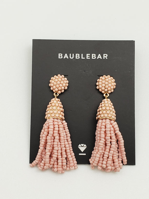Baublebar Peach Seed Bead Tassel Earrings