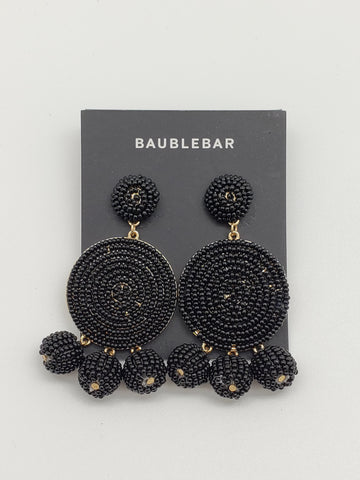 Baublebar Black Sparkle Circle Drop Earrings with 3 Spheres