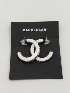 Baublebar White Acrylic Earrings with Rainbow Color Stones