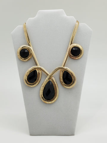 Sophia & Kate Gold & Black Color Fashion Necklace