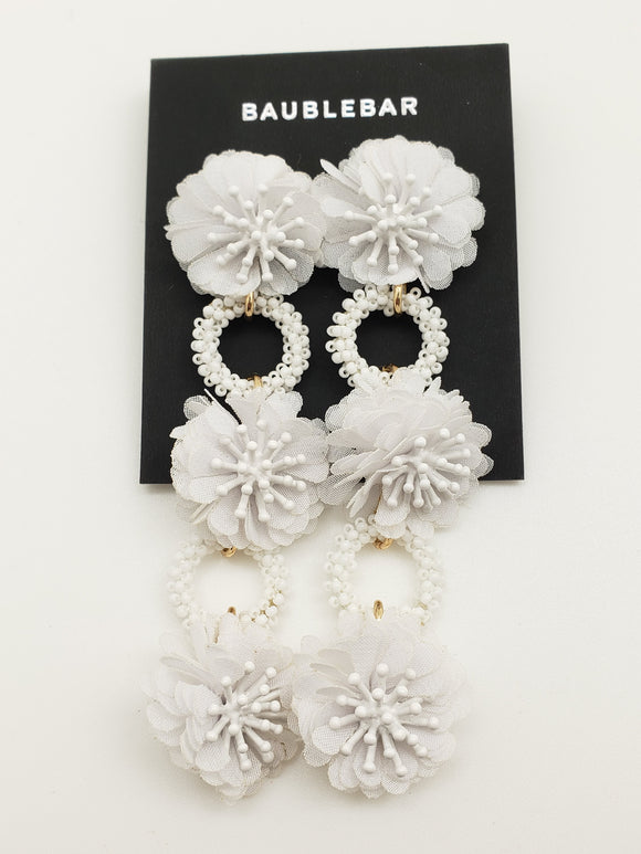 Baublebar Fabric Pom Pom & Seed Bead White Dropping Duster Earrings