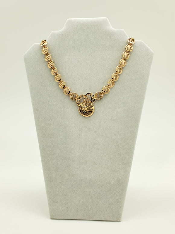 Oyster Sphere 5 Piece Bright Gold Color Necklace Set with Ring, Bracelet, Earrings & Necklace
