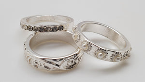 Set Of 3 Silver Color Rings