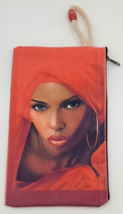 East African Mystique Velveteen On Canvas Zipper Art Bag