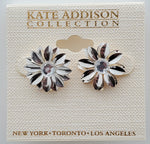 Kate Addison Collection Silver Color Flower Earrings