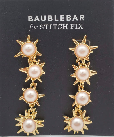 Baublebar Pearl Gold Hanging Stars Earrings