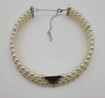 White Pearls Chocker Necklace With Plum Color And Stones