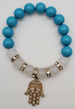 Blue, White And Gold Colored Hamsa Symbol Bracelet