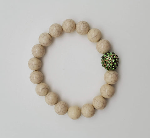 Marble Design With Green Stones Bead Bracelet