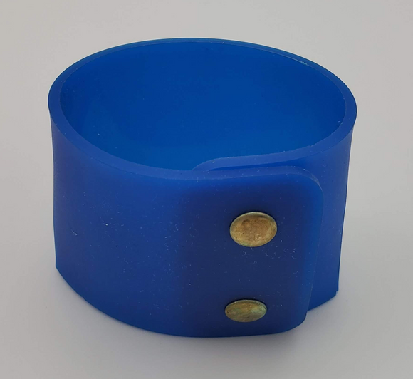 Blue Silicone Bracelet with Gold Snaps