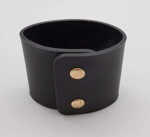 Black Silicone Bracelet with Gold Snap Buttons