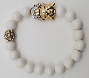 Gold and White Color Buddha Inspired Bracelet