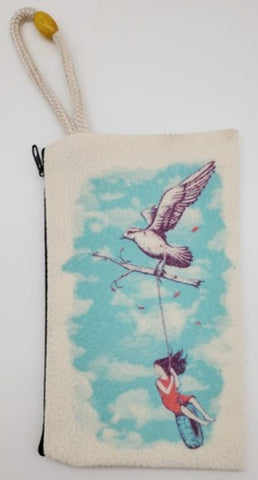 A Bird Tire on a Rope Girl Velveteen On Canvas Zipper Art Bag
