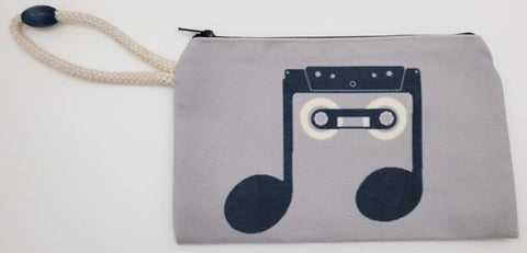 Beam Note Music Velveteen On Canvas Zipper Art Bag