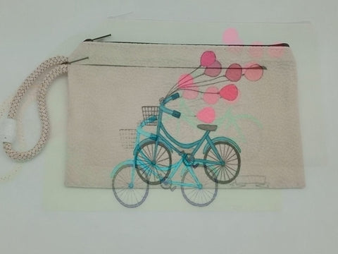 Pink Balloon & Bike Velveteen Mask & Cosmetic Bag by Inspired Vintage